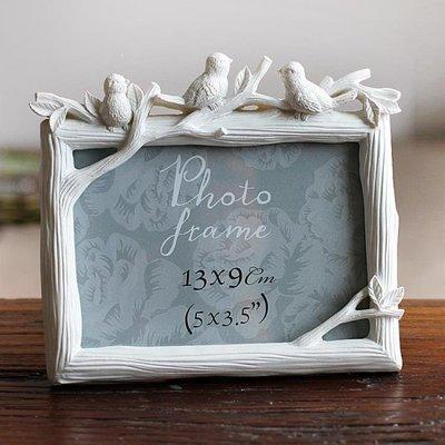 ZIHOPE 相框 5寸6寸7寸8寸三只鳥樹脂相框創意照片框小鳥擺臺彩繪家居飾品ZI812