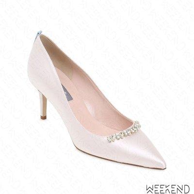 【WEEKEND】 Sarah Jessica Parker SJP Heirloom 緞面 鑲鑽 高跟鞋 白色