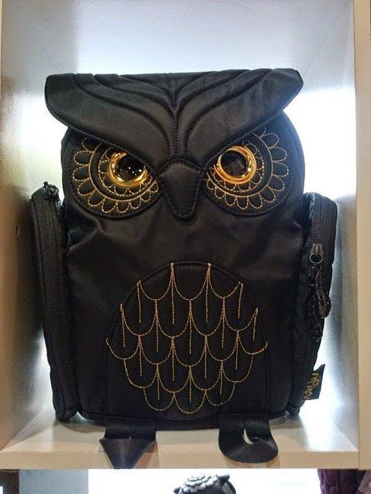 黑底金線貓頭鷹後背包(S) ,實品拍攝有店面,香港潮牌Morn Creations授權🌟最特別的禮物都在奧爾思🌟