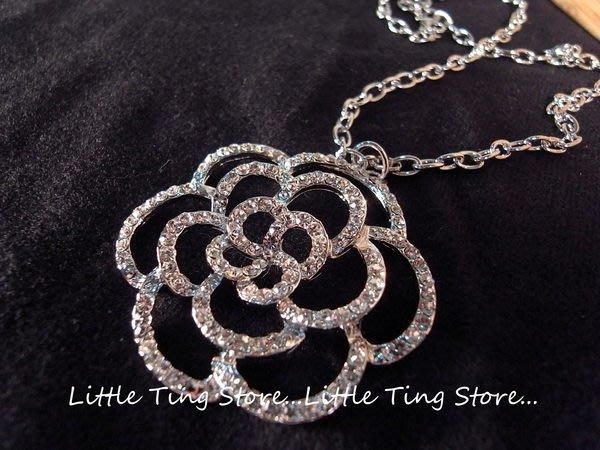 Little Ting Store : 母親節禮物 小香風星光閃亮項鍊BLING水鑚山茶花玫瑰長項鍊串鏈珠