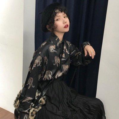 小香風 短袖T恤 時尚穿搭 復古港風chic 韓版 洋氣豹紋印花設計感小眾長袖襯衫女襯衣港味上衣