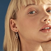 PD PAOLA 西班牙時尚潮牌 金色T字母耳環 彩鑽耳環 925純銀鑲18K金