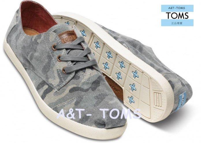 出清☆╮A&T-TOMS╭☆專賣店 美國 TOMS Camo Canvas Mens Paseos【男鞋】 繫带橡膠鞋底