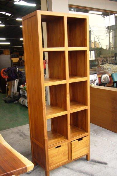 宏品二手家具 傢俱店 P760原木柚木8格2抽屜書櫃 書架 展示架 酒櫃 高低櫃 實木傢俱4折拍賣