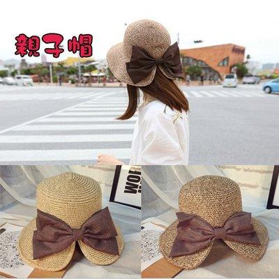 糖衣子輕鬆購【DZ0208】韓國優雅大氣蝴蝶結開岔草帽沙灘帽遮陽帽兒童帽親子帽
