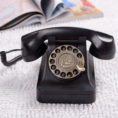 5Cgo 【批發】含稅會員有優惠  35466976229 歐式仿古老式電話機復古轉盤電話座機古董黑金鋼 旋轉撥號電話