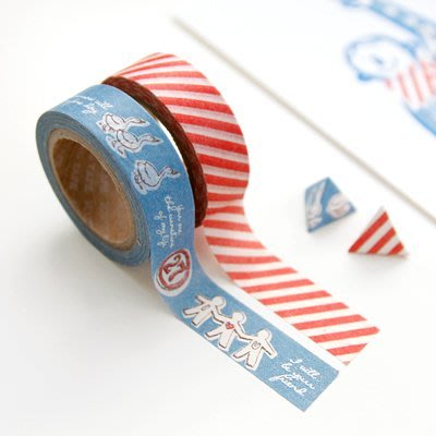 ❅PAVEE❅  韓國iconic~ Masking Tape 寧靜生活 北歐風 裝飾和紙膠帶~ 05 紅白斜紋+小鴨