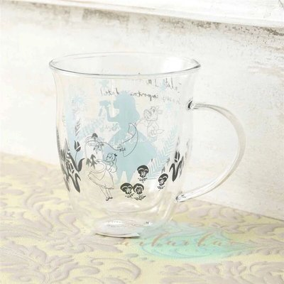 日本afternoon tea限定愛麗絲系列雙層隔熱印花Alice兔先生玻璃杯