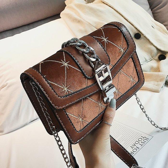 XINXIN女包秋季韓版 時尚新款 日韓系列 迷人包 女生包小包包女新款秋季女包港風時尚鏈條小方包斜挎單肩包