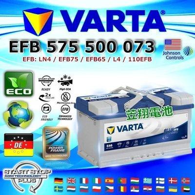 ☎ 挺苙電池 ►德國進口 VARTA 華達 E46 EFB 75Ah KUGA 原廠升級規格 EFB技術電池