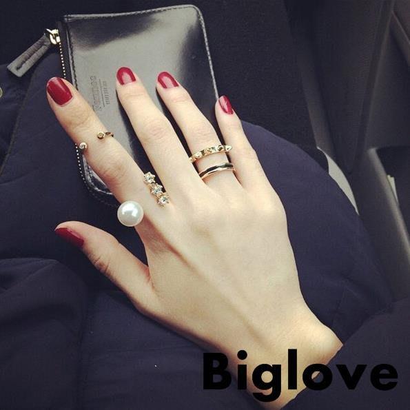 食指女日韓潮人開口指環夸張品學生個性尾戒小指小眾設計珍珠戒指