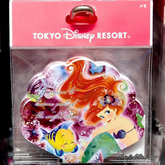 Ariel's Wish-日本東京迪士尼愛麗兒小美人魚Ariel粉紅色夢幻海底泡泡貝殼彩色便條紙兩款圖案-絕版現貨