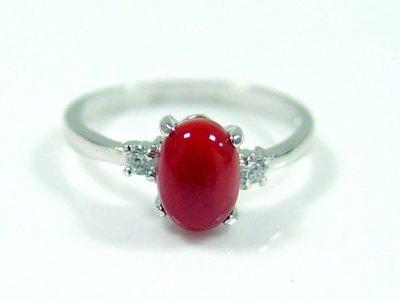 紅珊瑚戒指 阿卡 銀戒 附保證書 【大千珠寶】