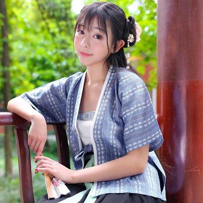清風 原創品牌日常漢服女夏季織花棉麻半臂單品