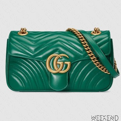 【WEEKEND】 GUCCI GG Small Marmont 皮革 小款 肩背包 綠色 443497