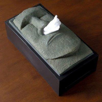 [Anocino]  Tiki moai 摩艾巨石像 抽取式衛生紙盒 (全新盒裝) 復活節島 流鼻涕 紙巾 復活島石像 面紙盒