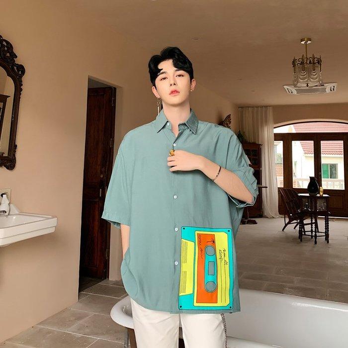 FINDSENS品牌 訂製 韓系男裝 G6 夏季時尚印花正韓短袖男白襯衫五分袖潮牌洋裝簡約寬鬆綠色白色日本風上衣素面襯衫