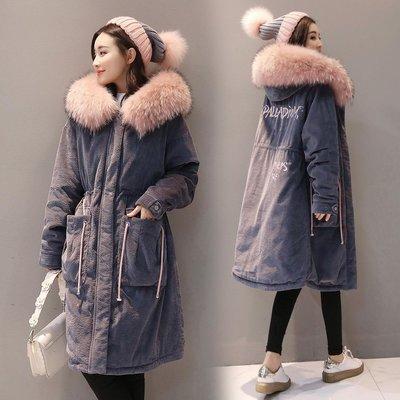 冬裝韓國女士棉服女中長款加厚大毛領保暖棉衣新款燈芯絨外套