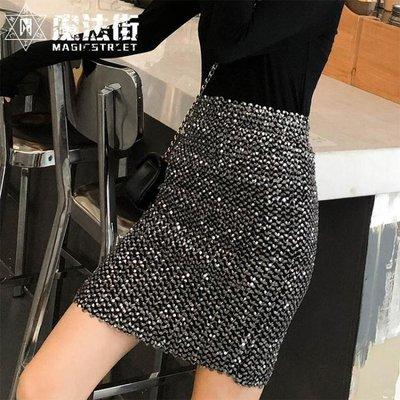 ins超火的一步半身裙女秋 2018新款高腰時尚閃亮片包臀短裙子