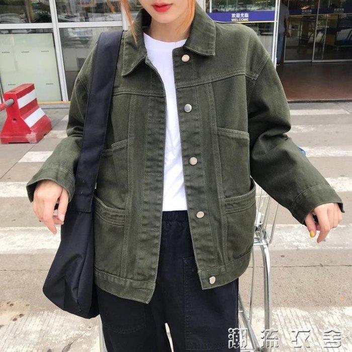 牛仔外套女春秋韓版寬鬆長袖翻領牛仔衣復古純色百搭休閒夾克上衣