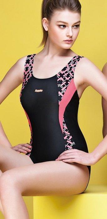 ~有氧小舖~2016蘋果牌APPLE泳裝 運動型粉色印花黑色素面連身三角泳衣 附泳帽 特價