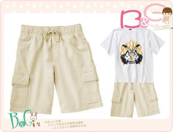 【B& G童裝】正品美國進口GYMBOREE雙側口袋卡其色棉質短褲10yrs