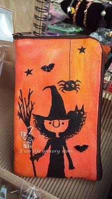 2隻貓**手繪系列**獨家手繪 萬聖節 巫婆款立體手機袋 手機保護套  / _橘色