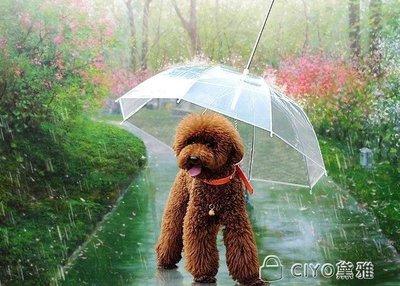 日和生活館 狗狗雨傘寵物雨傘泰迪比熊小型犬小狗寵物雨衣雨披用品帶狗鍊子S686
