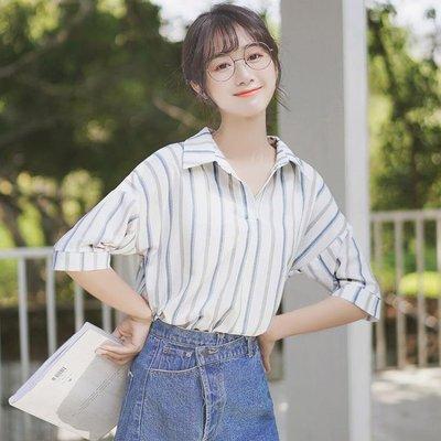 短袖襯衫 帛卡琪2020新款拼色豎條紋短袖雪紡襯衫女學生寬鬆v領半袖上衣夏