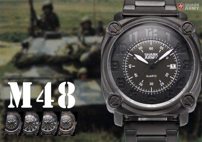 英國ARMy男子石英指針腕運動軍事日期黑鋼帶錶 非casio DW LV ICW