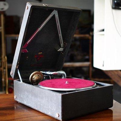 百寶軒 老上海懷舊NITTIKU古董老式手搖留聲機78轉黑膠唱機音質良 ZG2364