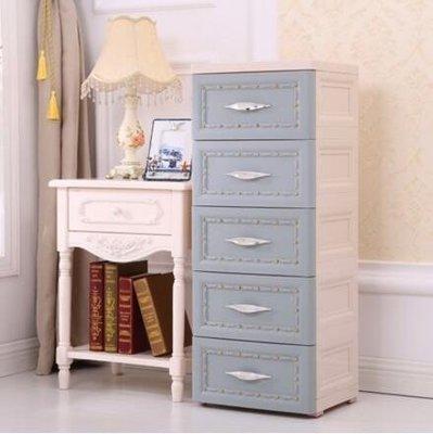 『格倫雅』加厚抽屜式收納櫃塑膠歐式床頭櫃簡易五鬥櫃子多層整理櫃兒童衣櫃(4款  果)^3508