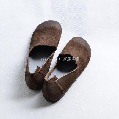 litterluck-韓國專櫃原創文藝復古單鞋女平底鞋淺口真皮擦色圓頭娃娃鞋日系森女系鞋子