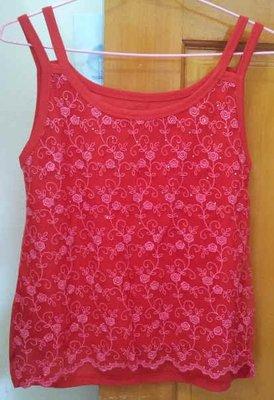 (A1箱) 全新紅色圓領刺繡玫瑰花網紗雙細肩帶小可愛/背心~1元起標~