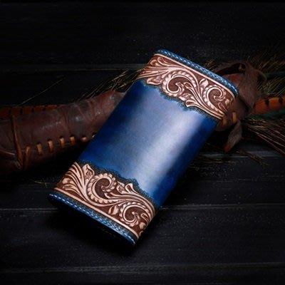 長 夾 手工真皮 錢包-復古精美皮雕華麗男女皮夾73tf55[獨家進口][米蘭精品]