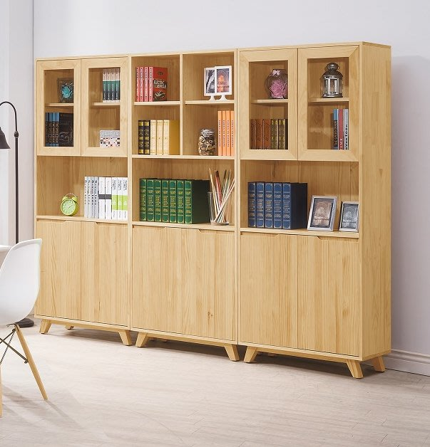 【人家人具】全實木8尺組合書櫃羅本北歐HH485-2