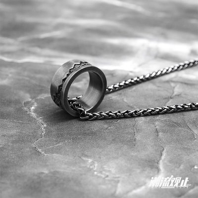 潮流觀止Dissolve戒指男潮嘻哈小眾設計冷淡風簡約單身項鏈兩用款