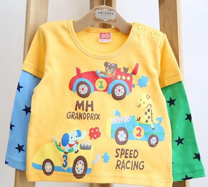 ☆草莓花園☆DD30黃色小汽車  日系兒童春款長袖衣服 毛圈上衣T恤 純棉童  男童 童T恤