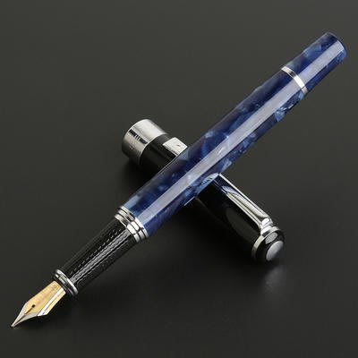艾力客生活工坊☆000-253 英雄H631貓眼水波紋鋼筆 雙色筆尖 經典皮盒(貓眼藍-黑蓋)