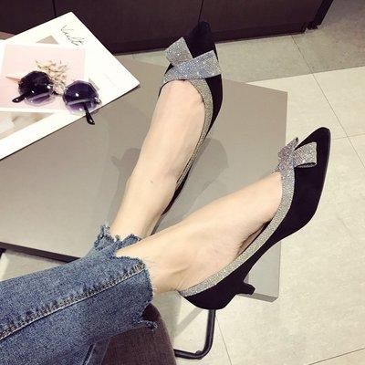 柒柒KR 正韓歐美風時尚2019春夏季大碼新款女鞋子亮片絨面淺口尖頭低跟女單鞋