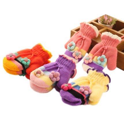 東大門平價鋪   秋冬新款女童保暖手套,韓版加絨加厚針織兒童手套,寶寶連指掛繩手套