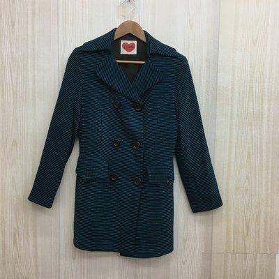 【愛莎&嵐】cocotte 女 藍綠色毛料排釦大衣 1070227