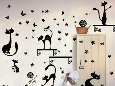 壁貼工場-可超取 三代大尺寸壁 壁貼 牆貼 佈置 兒童房佈置 小黑貓  XY8135