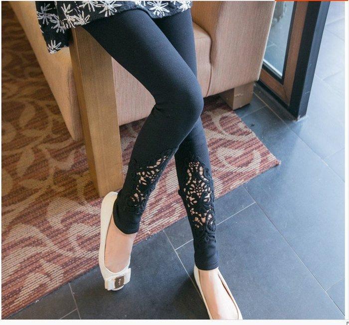 ☆Candy Box☆特大碼女裝秋裝新款外穿顯瘦打底褲蕾絲加肥加大長褲 黑 Z2512255