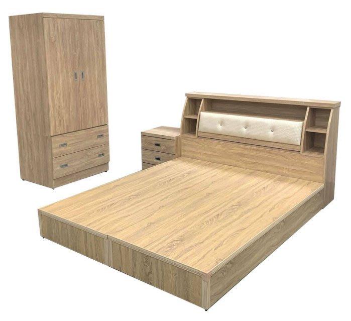 台中二手家具西屯樂居全新中古傢俱WG12FH*全新梧桐5X6雙人床底+床頭櫃+床邊櫃+3尺衣櫃*臥室家具 床組