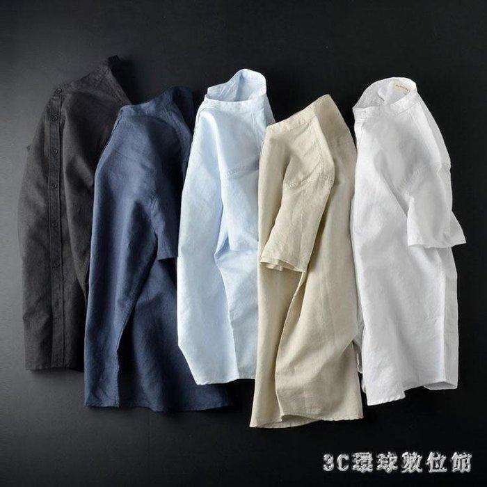 白色亞麻襯衫男短袖韓版修身潮流復古風立領棉麻襯衣衫 LC186