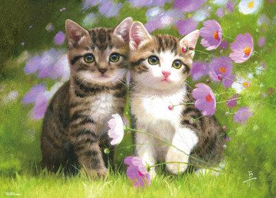 動物畫 長岡卓 貓咪 好朋友 (Beverly, 600片, 66-149, 日本拼圖)