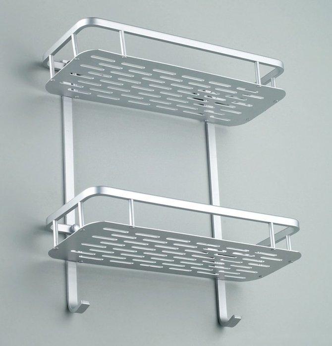 收納世家 浴室收納架免打孔太空鋁置物架浴室雙層二層衛生間置物架三角架浴室收納長方
