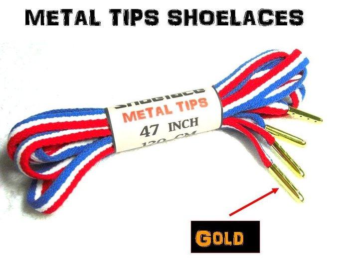 ~美國國旗3色~金屬頭扁鞋帶USA American Jordan Metal Tips