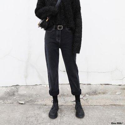 One fifth◊ .. [S-5XL]新品大碼闊腿牛仔褲女BF寬鬆舒適直筒蘿卜哈倫老爹褲QC230